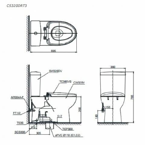 Thông số kỹ thuật bồn cầu S3200