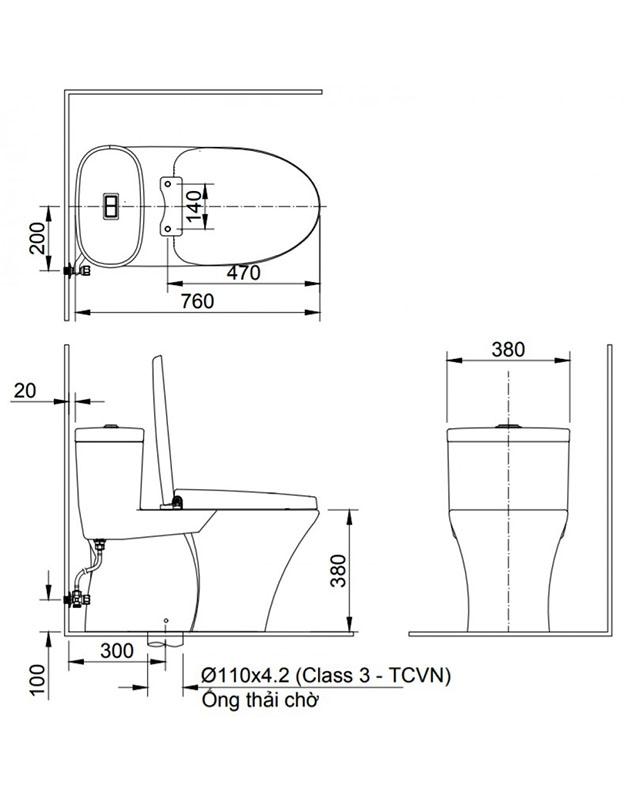 Bảng vẽ bồn cầu INAX AC-959VAN