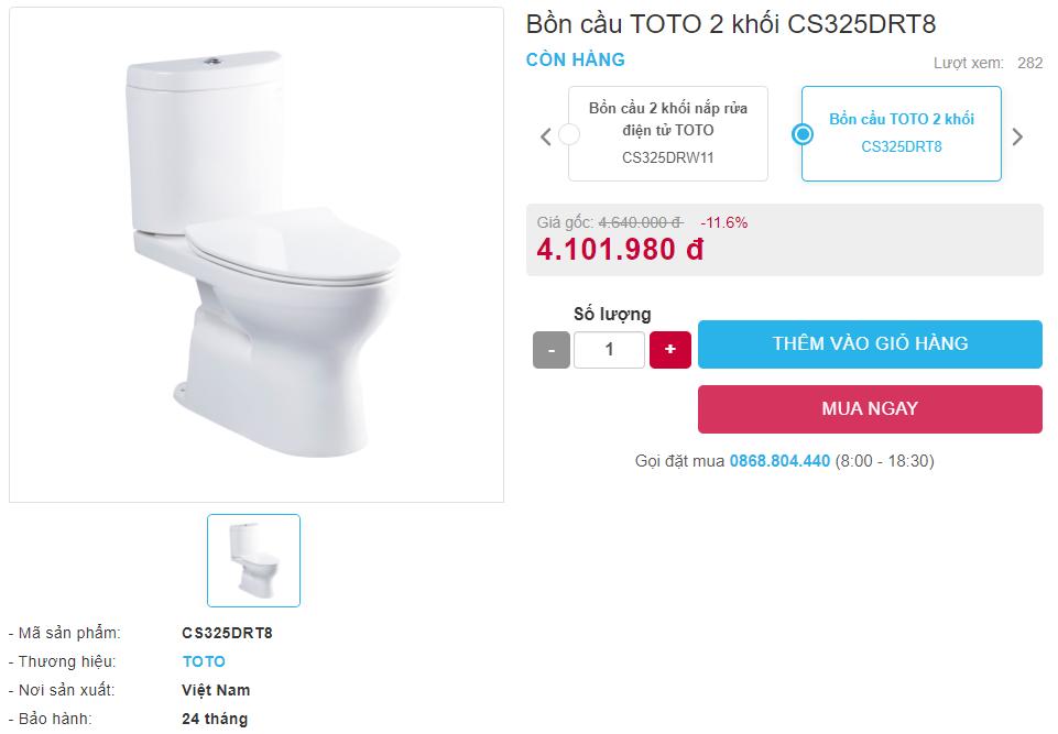 Giá bán bồn cầu Toto 2 khối CS325DRT8 hai khối