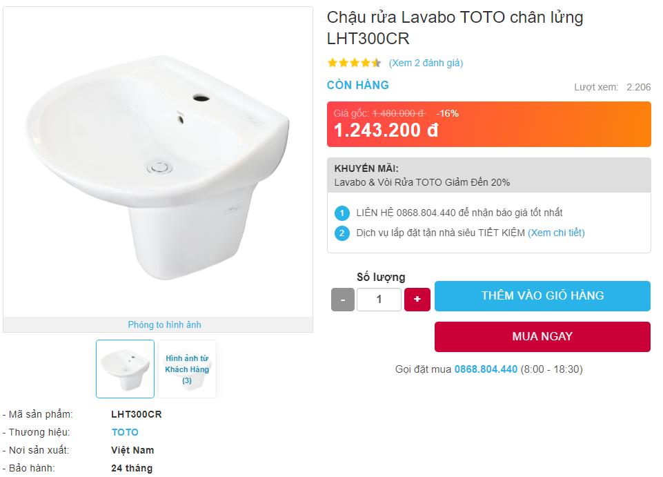 Giá bán chậu rửa Lavabo TOTO LHT300CR