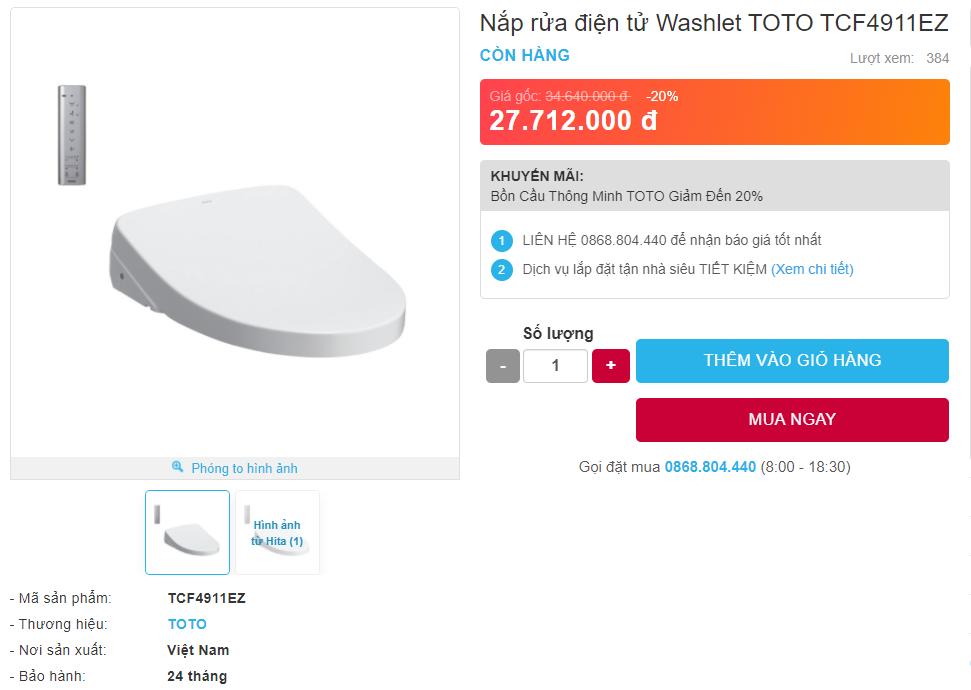 Giá bán nắp rửa điện tử TOTO TCF4911EZ