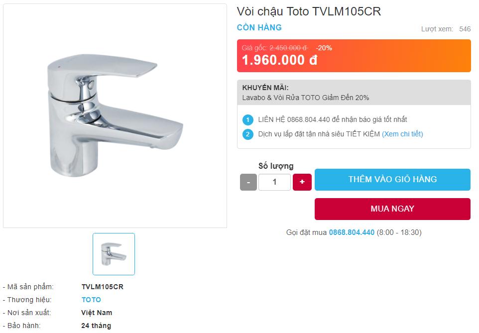 Giá bán vòi chậu Toto TVLM105CR nóng lạnh