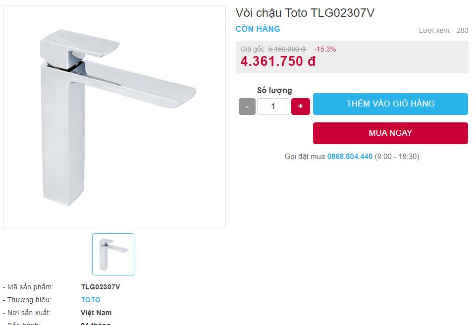 Giá bán vòi chậu Toto TLG02307V nóng lạnh