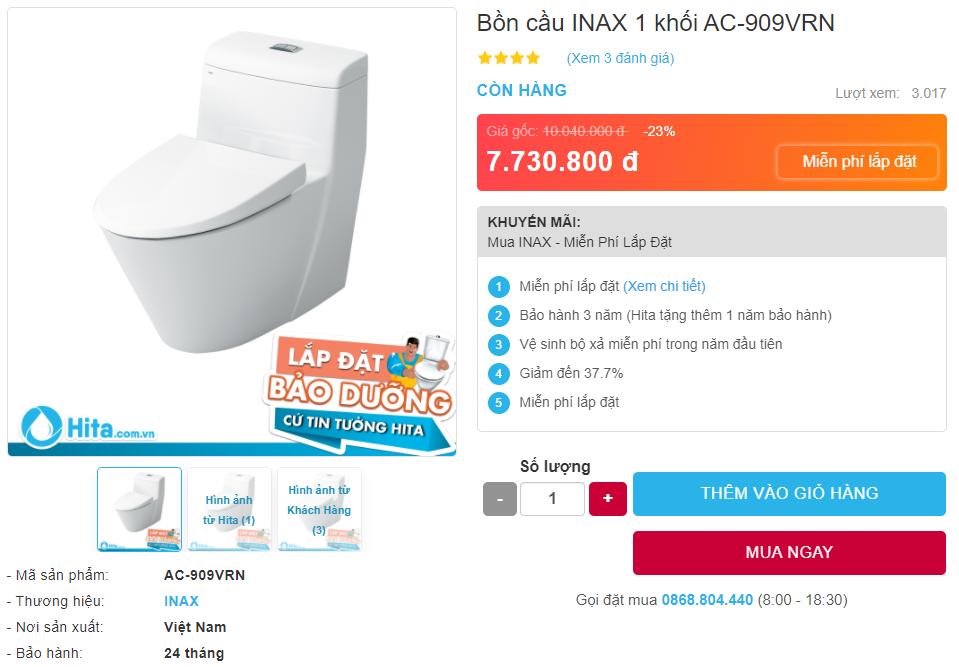Giá bán bồn cầu Inax AC-909VRN