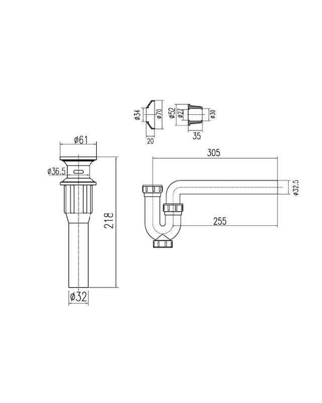 Thông số kỹ thuật bộ xả lavabo Inax A-325PS Nhựa