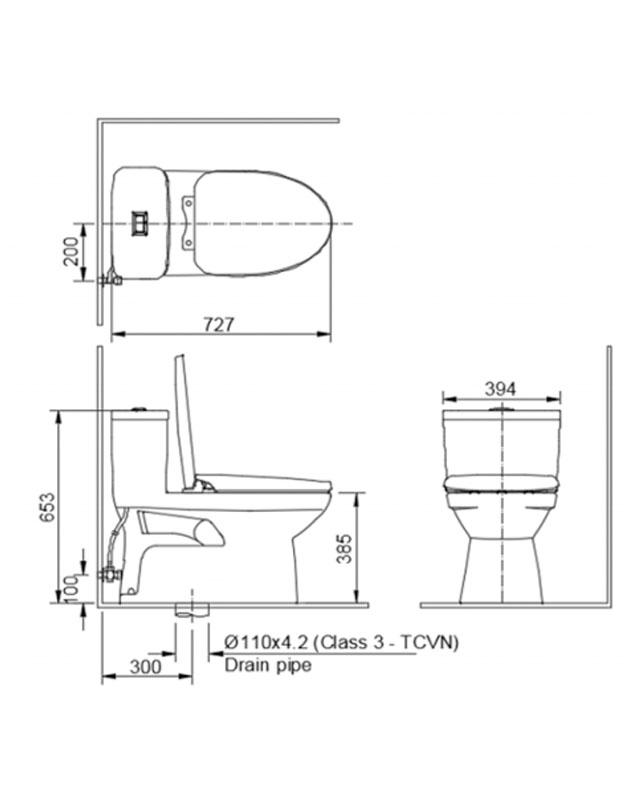 Thông số kỹ thuật bồn cầu Inax AC-832VN