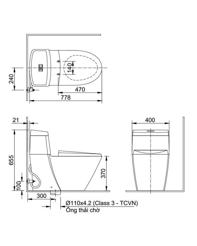 Thông số kỹ thuật bồn cầu Inax AC-909VRN