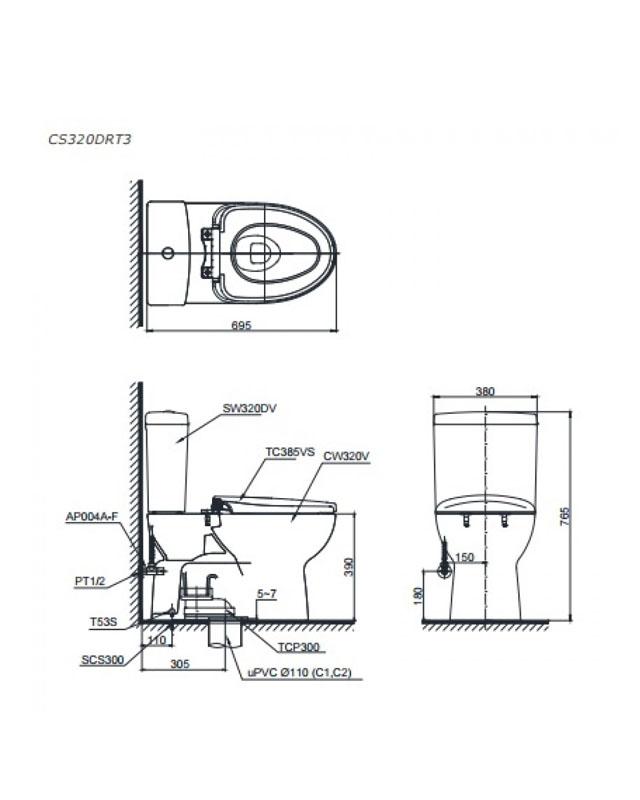 Thông số kỹ thuật bồn cầu Toto 2 khối CS320DRT3