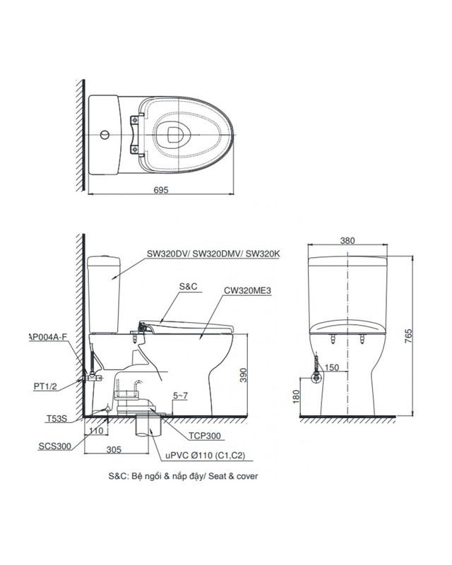 Thông số kỹ thuật bồn cầu Toto 2 khối CS325DRT8
