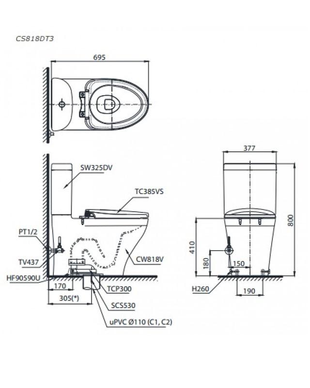 Thông số kỹ thuật bồn cầu Toto 2 khối CS818DT3