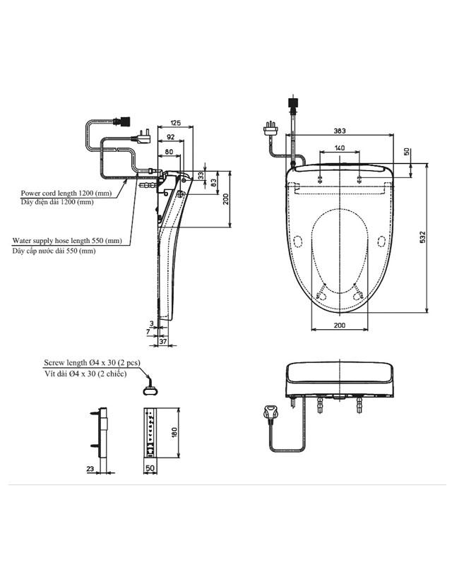 Thông số kỹ thuật nắp rửa điện tử Washlet TOTO TCF4911Z