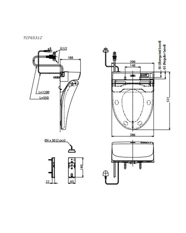 Thông số kỹ thuật nắp rửa điện tử Washlet TOTO TCF6531Z