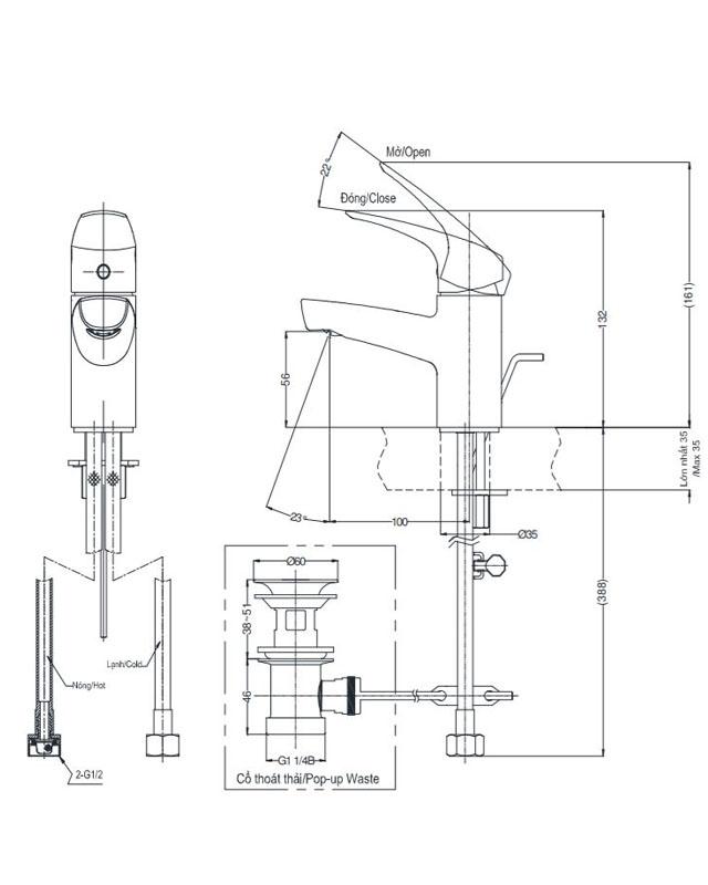 Thông số kỹ thuật vòi chậu Toto TVLM105CR