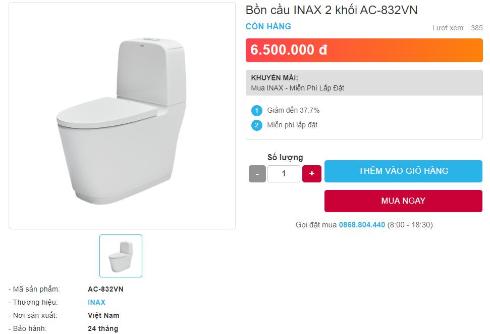 Giá bán bồn cầu INAX AC-832VN