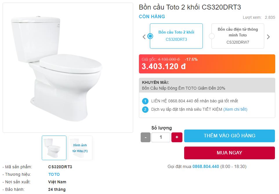 Giá bán bồn cầu Toto 2 khối CS320DRT3 hai khối