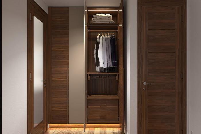Đèn sàn cạnh ghế bành hoặc tủ quần áo